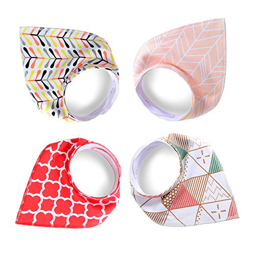 Baby Bandana Drool Bibs for Drooling and Teething 4 Pack Gift Set For Girls ,Soft and Absorbent, Newborn and Baby Shower Gift