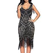 Women's 1920s Sequin Beaded Tassels Hem Flapper Dress Sleeveless Black Silver Thread Embroidery Fringe Great Gatsby Party Dress