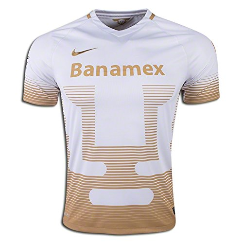 2015-2016 Nike UNAM Pumas Away Replica Soccer Jersey (White/Gold) (M)