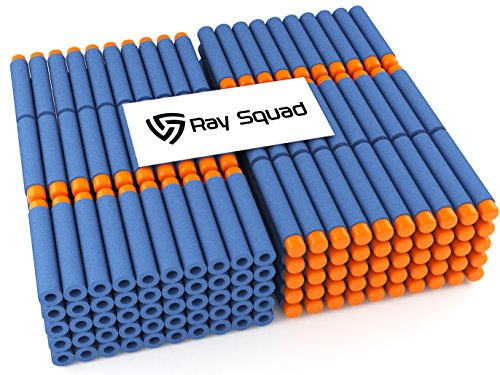 300-Pieces Set, Nerf Compatible Foam Toy Darts By Ray Squad, Premium Refill Bullets For N-Strike Guns, Universal Mega Pack, Firm and Safe Nerf Compatible (Nerf Dart Tag)