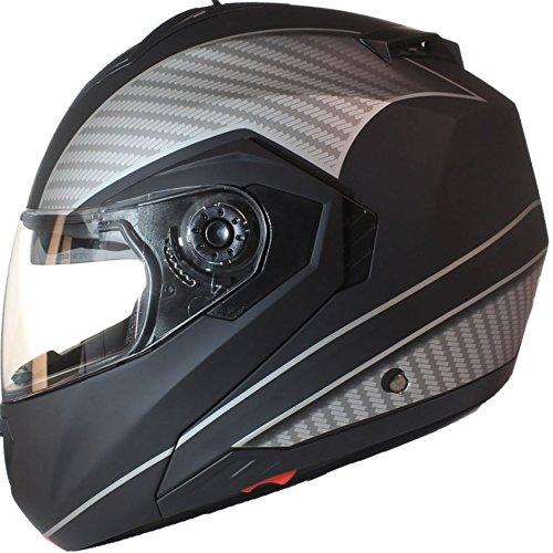 Qtech Casco MODULARE per Moto con Integrale Doppia Visiera - Rosa - L (59-60cm)