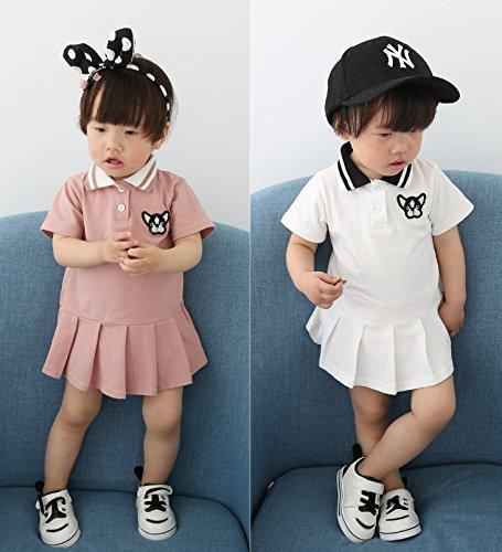 FAYALEQ Toddler Baby Girls Cotton Cartoon Embroidery Ruffles Dress Lapel Casual Skirt