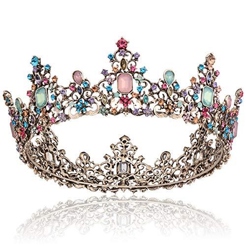 Coucoland Königin Krone Barock Stil Braut Tiara Retro Hochzeit Krone Luxus Prinzessin Diadem Kristall Geburtstagskrone Damen Fasching Kostüm Accessoires