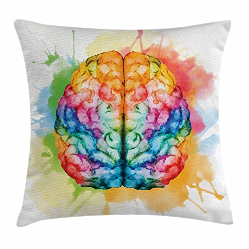 Watercolor Throw Pillow Cushion Cover By Ambesonne  Vibrant Colorful Human Brain Body Neurology Hemispheres Creative Intelligence  Decorative Square Accent Pillow Case  18 X 18 Inches  Multicolor