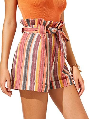 SweatyRocks Women's Casual Elastic Waist Seft Tie Summer Beach Shorts with Pockets Multicolor Small
