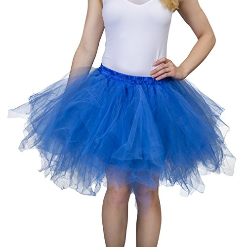 Dancina Blue Tutu Adult Vintage Petticoat Tulle Skirt for Women [Sticker XL],Royal Blue,Plus Size -