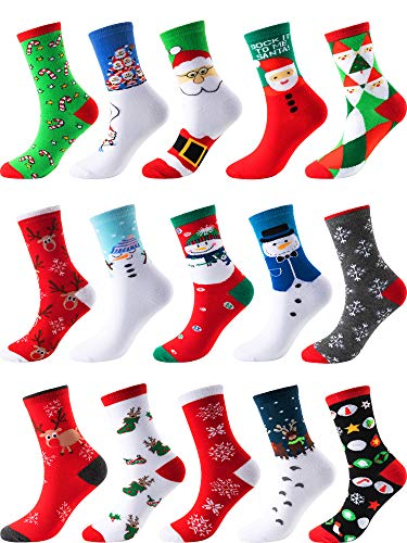 Sumind Christmas Socks Christmas Holiday Socks Colorful Fun Cotton Crew Socks for Novelty Gifts (Multicolor Style 15) ()