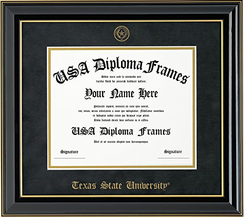 Texas State University Diploma Frame - Black with Gold Accent Frame and Black Suede Mat ()