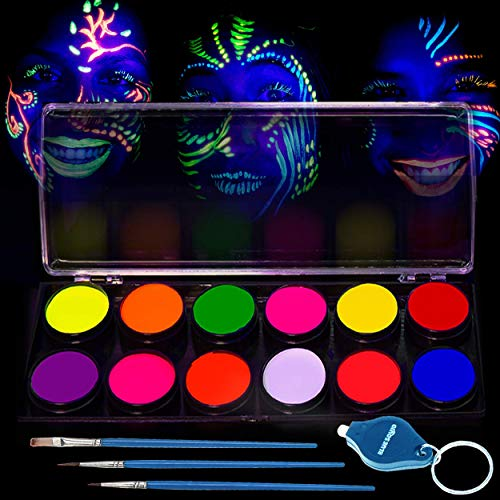 Glow in The Dark Paint - UV Reactive Fluorescent Face & Body Paint - 12 x 10ml Professional Best Quality Paints - Glow in The Dark Blacklight Reactive Costume Makeup Party Supplies - Free Stencils]()