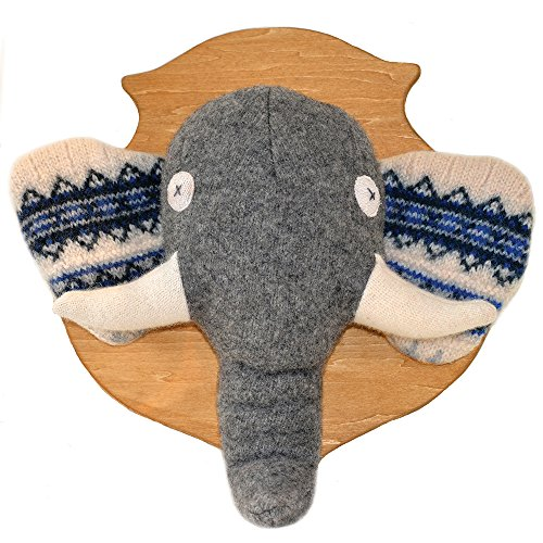 """Price comparison product image Cate and Levi 12"""" x 16"""" Handmade Elephant Stuffed Animal Head Plaque (Premium Reclaimed Wool),  Colors Will Vary"""
