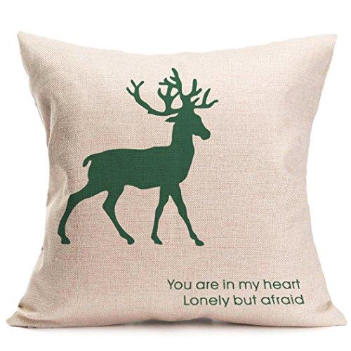 Gotd Christmas Elk Pattern Square Decorative Linen Pillowcases Throw Pillow Case Cushion Cover 18 X 18
