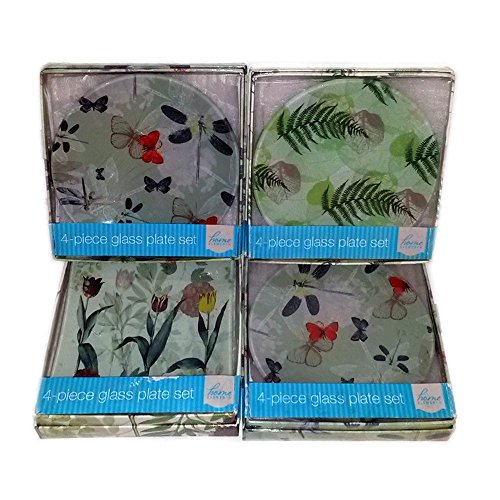 4 Boxed Sets: Home Elements Spring 4-Piece Glass Plate Set - Element Spring
