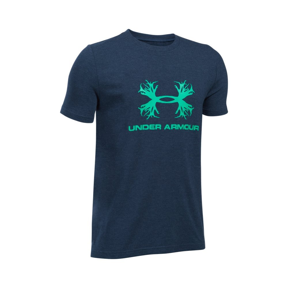 Under Armour Boys' Antler Logo T-Shirt,Midnight Navy Medium (411)/Glass Green, Youth Small by Under Armour