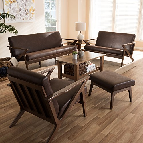 (Baxton Studio Bianca Mid-Century Modern Walnut Wood Dark Brown Distressed Faux Leather Livingroom Sofa Set Mid-Century/Dark Brown/Walnut Brown/Faux Leather/Rubber Wood/)
