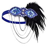 HAMIST 1920 Headpiece - 1920S Accessories Women Vintage Feather Headband Flapper Costume (Blue)