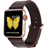 PEAK ZHANG Compatible Iwatch Band 38mm Women Dark Brown Genuine Leather Replacement Strap with Series 3 Gold Metal Adapter and Buckle Compatible Iwatch Series 3 Gold Aluminum