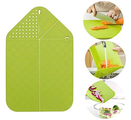Rinse & Chop Board, Veggies & Fruit Cutting Board, Strainer & Chopping Board, Multifunctional Foldable Chopping Board, Multifunctional Kitchen Tool (Green) (Chop To Pot Cutting Board)