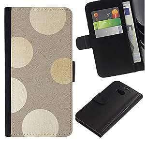 For HTC One M8,S-type® Beige Paper Lights Subtle - Dibujo PU billetera de cuero Funda Case Caso de la piel de la bolsa protectora