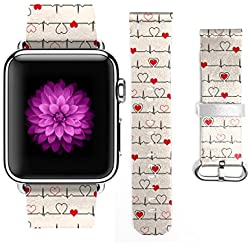 Apple Watch Band, Stainless Steel Replacement Strap Wrist Band for Apple Watch Sport & Edition - 38mm - Valentine Design Cute Love Heart Electrocardiogram