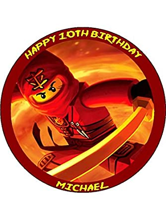 Lego Ninjago Kai 75 Round Personalised Birthday Cake Topper Printed On Icing Amazoncouk Grocery