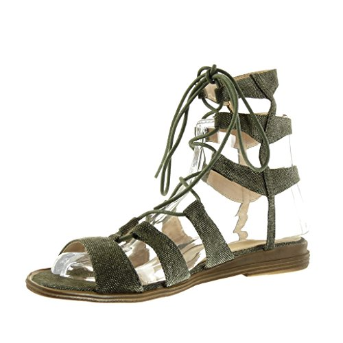 Angkorly Women's Fashion Shoes Sandals - Gladiator - Sexy - Embroidered - Multi Straps Block Heel 2 cm Green tKVRPue2