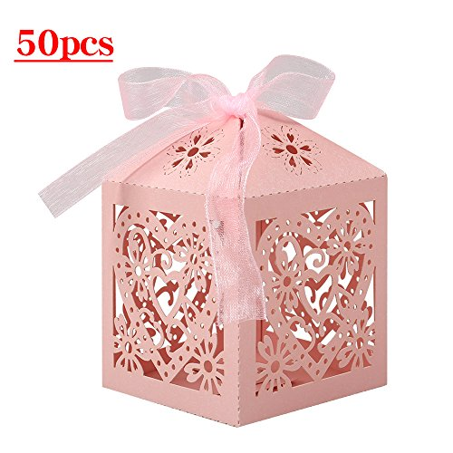 (Lucky Monet 25/50/100PCS Love Heart Laser Cut Wedding Candy Gift Box Chocolate Box for Wedding Favor Birthday Party Bridal Shower with Ribbon (50pcs, Pink))