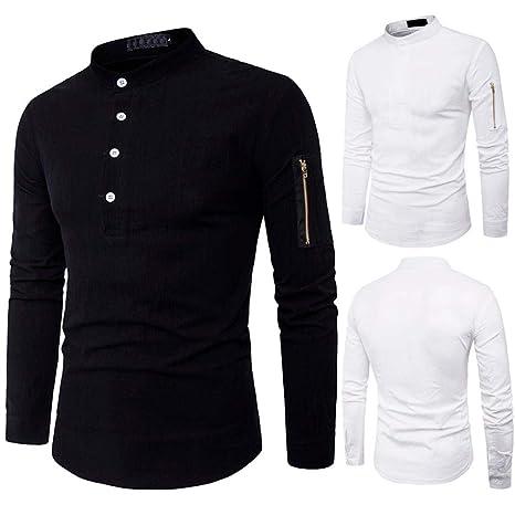 2018 Otoño Camisa de Manga Larga de algodón Blusa con Stand Collar para Hombre Ocasionales de Cuello Casual Blusa Tops Slim Fit Camisa Shirt Pullover ...
