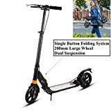 Vividy 220lb Foldable 2-Wheel Kick Scooter with 200mm Large Wheel & 150mm Wide Pedal, Height Adjustable Commuter Street Push Scooter for Adults/Teens (US STOCK)