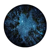 Goodbath Starry Night Round Area Rugs, Forest Tree Space Galaxy Non-Slip Area Rug Washable for Bedroom Living Room Study Playing Floor Mat Carpet, 4 Feet