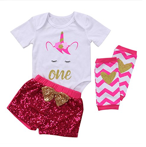 (Rush Dance Boutique Princess Girls Birthday Celebration Tutu & Top Set (12M, Unicorn Top & Hot Pink Pants with Leg)