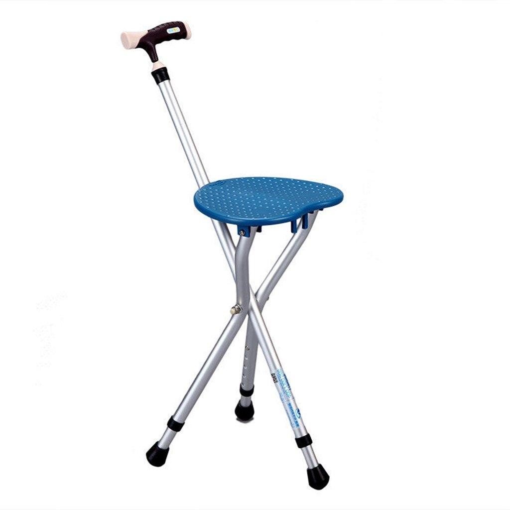調節可能な折りたたみ式の歩行ケーンチェアスツールマッサージシート付きウォーキングスティックポータブル釣りレッグスツールノーエル (色 : 青) B07CSJWZL8  青