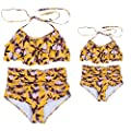 NUWFOR Mother and Daughter Print Two Piece Swimsuit Matching Swimsuit Clothing White