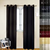 Cheap Prestige Home Fashion Thermal Insulated Blackout Curtain – Antique Bronze Grommet Top – Black – 38″ W x 96″ L, 1 Panel