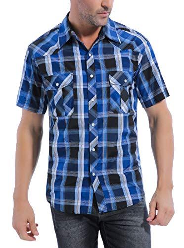 Coevals Club Men's Button Down Plaid Short Sleeve Work Casual Shirt (Bule & Black#4, 3XL)