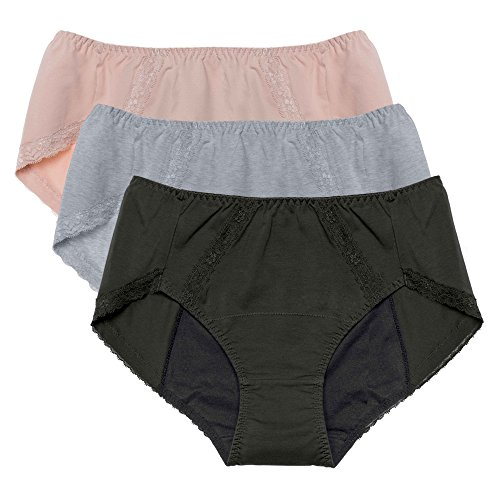 Intimate Portal Women Total Leak Proof Protective Incontinence Briefs Period Panties 3-pk Gray Black Beige 5XL