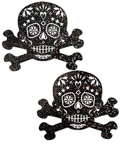 Black Glitter Candy Skull and Crossbones Pasties by Pastease o/s