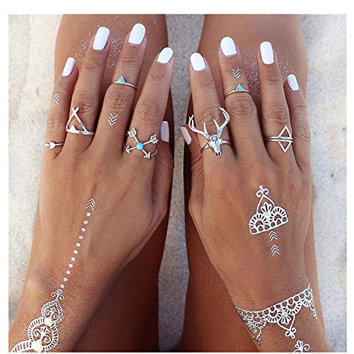 Rings,Lisingtool 7PCS/Set Bohemian Deer Turkish Midi Ring Set Steampunk Turquoise Knuckle Rings (Deer Ring For Women)