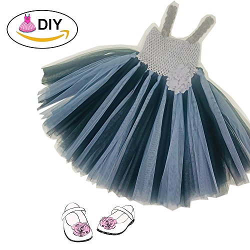 Sprtpilo DIY Tutu Dress for Baby Girl Black Grey Handcrafted Double Layers Tulle Easter Girls' Costumes (Tutu Costumes Diy)