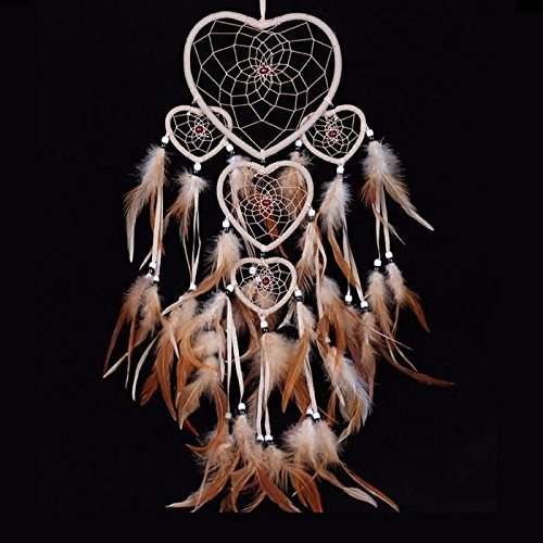 Rcdxing Dream Catch Sensor Dream Catcher Feather Dreamcatcher Wall Hanging Decoration-Coffee