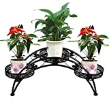 Dazone Arch Plant Rack Metal Patio Stand Rack with 3 holder (Black)