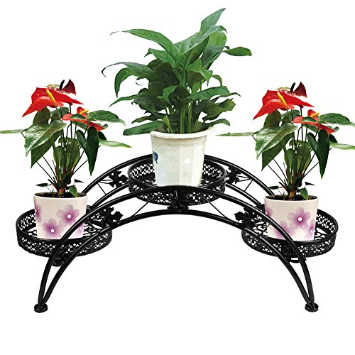 Dazone Arch Plant Rack Metal Patio Stand Rack with 3 holder (Black) by DAZONE
