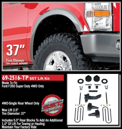 - ReadyLift 69-2516TP 2.5''F/1''R Lift Kit with 5'' Blocks (Ford Super Duty F250/F350/F450 4WD, 1-Pc Drive Shaft Only, 2008-2010), 1 Pack