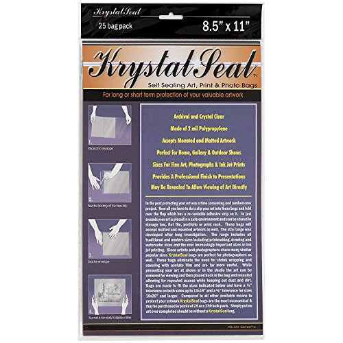 Creative Mark Krystal Seal Art and Photo Bags - Resealable Archival Storage Bags Art Sleeves Plastic Bag Used for Protecting Artwork Resealable with Adhesive Strip - [25 Pack - 8.5 x 11