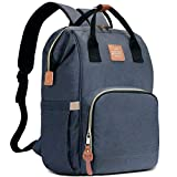 HaloVa Diaper Bag, Baby Nappy Backpack, Mommy Maternity Travel Bag with Wet Cloth Pocket and Thermal Insulated Bottle Pockets, Leather Ornaments and Eco-friendly Fabrics, Dark Blue
