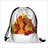 Drawstring Backpack Bags handful of jelly bears polyester fabric Folding Shoulder Cinch Bag(13.7W x 17.7L INCH)