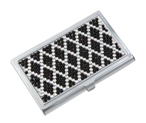 Business Card Case Holder with Crystal Decorations