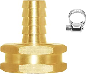 """Joywayus 1/2"""" Barb x 3/4"""" Female GHT Thread Swivel Hex Brass Garden Water Hose Pipe Connector Copper Fitting with Stainless Clamp House/Boat/Lawn/Power Wash/Irrigation"""