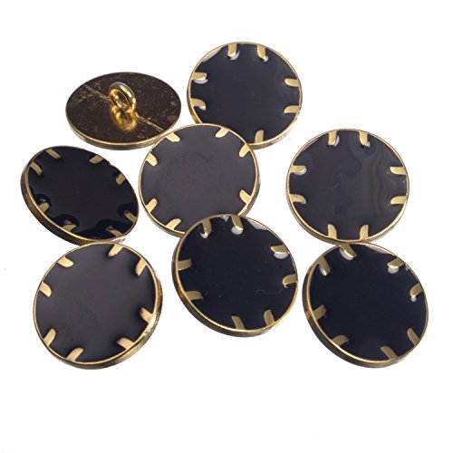 Button Vintage Pinback - Zinc Diecasted Metal Shank Button - Gold Edging with Epoxy - 32 Line - Black
