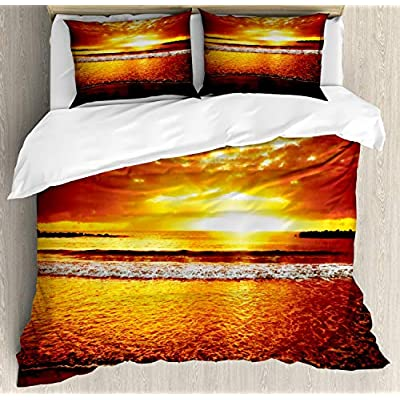Ambesonne Ocean Duvet Cover Set, Colorful Sunset on The Ocean Dramatic Sky Summertime Tropical Seaside Cloudscape, Decorative 3 Piece Bedding Set with 2 Pillow Shams, Queen Size, Brown Yellow: Home & Kitchen