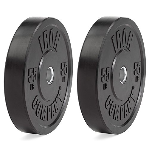 IRON COMPANY 55 lb. Premium Black Virgin Rubber Olympic Bumper Plates (PAIR) for Crossfit Workouts and Olympic Weightlifting - IWF Specifications by Ironcompany.com
